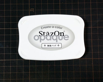 "stazon opaque 'create-a-color"" ink pad. plain stamp pad. empty ink pad. no inks on the pad. create your own ink mix. stamp supplies"