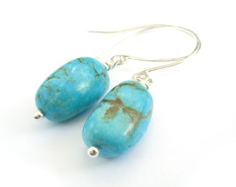 Genuine Turquoise Sterling Silver Earrings with Natural Stone Turquoise Drop Earrings