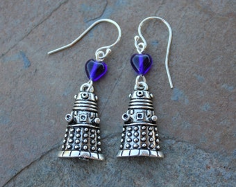 Dalek Earrings- Evil universe conquering aliens and cobalt blue hearts on sterling silver hooks - for Doctor Who Fans- Free Shipping USA