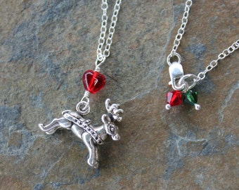 Reindeer Necklace - Sterling silver charm and chain, red & green Swarovski crystal dangles, red glass heart- Christmas fun - Free Ship USA