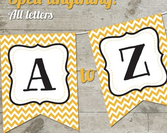 Mizzou Chevron Printable Banner, Letters A-Z + Numbers