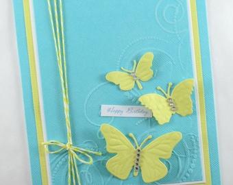 Birthday card, butterfly, butterflies, embossed birthday, feminine, wife, daughter, sister