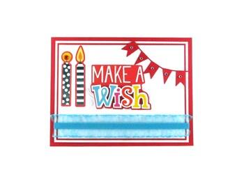 Make a wish, birthday card, happy birthday, embossed birthday, boys girls women men