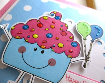 Cupcake birthday card, kids birthday card, girls birthday card, personalized birthday card, balloons, pink and blue