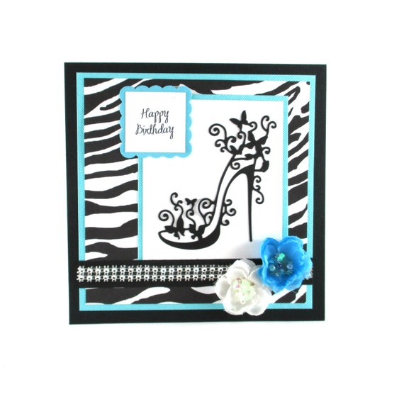 Happy Birthday Card High Heels Zebra Print By