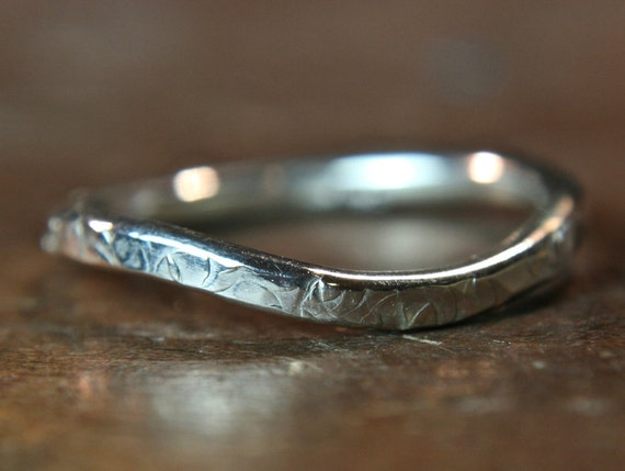 """Recycled sterling silver """"curvy"""" textured wedding ring. Hand made in the UK"""