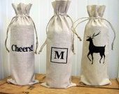 Cheers wine bag / embroidered / personalized wine gift bag / hostess gift / wedding gift /