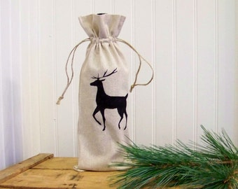 reindeer wine gift bag / christmas wine bag / wine tote / silhouette / hostess gift / christmas gift / linen / natural /