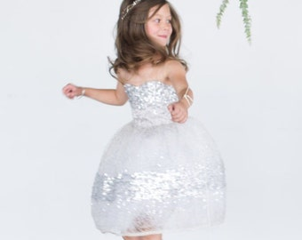The Constellation Flower Girl Dress- Silver