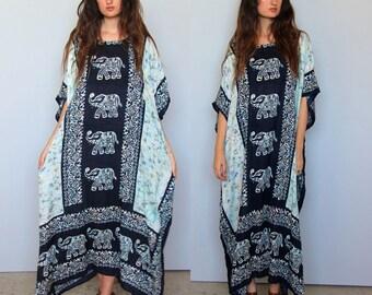 perpetual summer -- vintage indian muumuu caftan dress S/M/L OSFA