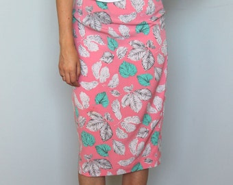 candy leaves -- vintage 80s leaf print pink skirt XS/S