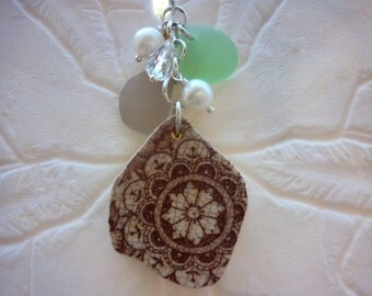 Cluster Sea Glass Necklace Pottery Shard Jewelry Beach Glass Sterling Lavender Pendant