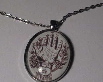 Fortune Telling Pendant Palm Reading Glass Image Necklace