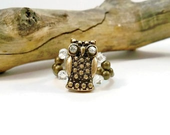 Crystal Owl Ring, Rhinestone Owl Cocktail Ring, Crystal Ring, Stretch Ring, Bronze Ring, Gift for Her,