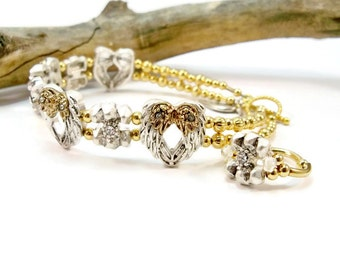 Gold and Silver Angel Wing Bracelet, Angel Wing Sliders, Bracelet and Ring Set, Double Strand, Silver Jewelry, Cuff Bracelet