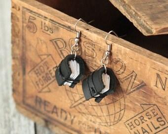 Black Mini Leather Journal Earrings, Book Earrings