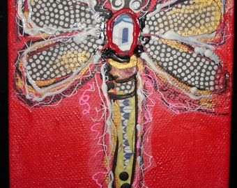 4 inch square Dragonfly on Red original mixed media painting