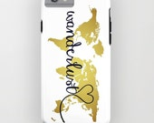 Wanderlust Phone Case, iPhone Case, Phone Cover, Personalized Map Phone Case, Inspirational, Samsung Galaxy Case, iPhone 6 Case Gold Foil