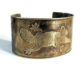 Cuff Bracelet, Etched Brass Cuff Gecko - Free Domestic Shipping