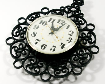 Vintage Electric Wall Clock, 70s Timex Black Wrought Iron Look Scroll Design Wall Clock, Kitchen Clock