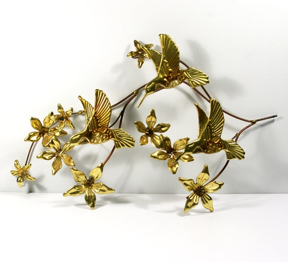Brass Wall Art 70s Hummingbird And Flowers Brass Wall