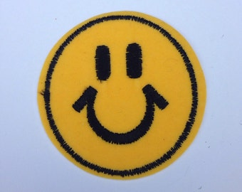 Smiley Face Patch Embroidered Vintage 1980s
