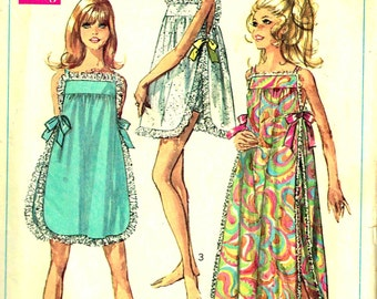 Nightgown Panties Vintage 1960s Misses Simplicity 7694 Sewing Pattern Size 10 Bust 31.5 - 32.5 Long Short Babydoll length Pajamas Cut