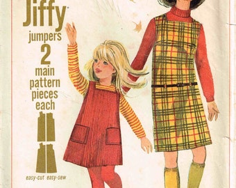Child Jumper Dress Square Neckline Vintage 1960s Simplicity 6704 Jiffy Sewing Pattern Children Girls Size 4