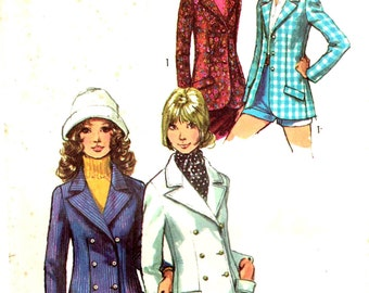 Misses Double Breasted Blazer Jacket Notched Collar Pea Coat Sewing Pattern  Vintage 1970s Simplicity 9610 Size 10 Bust 32.5 Inch
