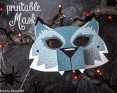 Printable Halloween Werewolf Mask for kids DIY Halloween activity instant download print at home mask with 3D snout and fangs
