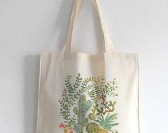 Sac coton tote bag cactus vert, Illustration imprimé cactus, Sac illustré plante grasse vert, Illustration aquarelle cactus, Idée cadeau
