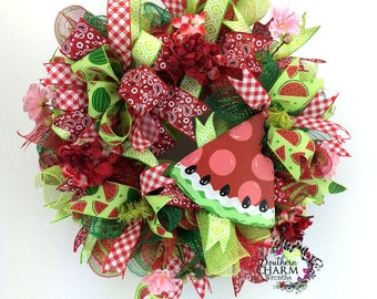 Deco Mesh Watermelon Wreath, Summer Wreaths for Front Door, Watermelon Decorations, Watermelon Door Hanger, Picnic Decorations, BBQ Decor