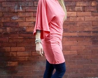 Coral Pink Eco Stretch 3/4 Kimono Sleeve Caftan Tunic Dress|Plus Size Dress|Maternity Dress|Kimono Top|Pink Dress|Fitted Dress|Stretch Dress