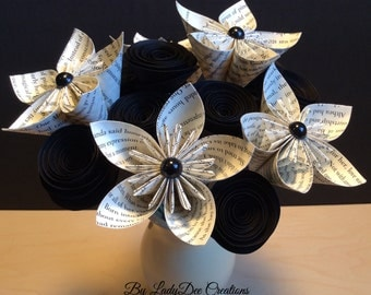 Beautiful Book Page Kusudama Flowers & Rolled/Spiral Paper Flowers - Wedding, Shower, Bouquet, Table decoration, Centerpiece, Gift