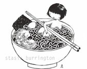 I Love Noodles! - 11x14 fine art archival print in black and white - wild woman
