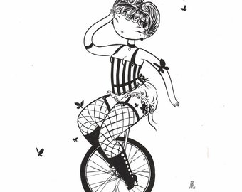 Unicycle - 11x14 fine art archival print in black and white - circus beauty
