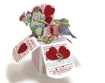 Engagement Love Pop Up Card - Custom Pop Up Cards - Love Birds Congratulations Card - Gift Card Holder - Happy Anniversary