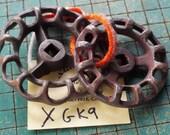 2 large valve handles, vintage faucet knob, round wheel handle, industrial, steampunk art, maker supply, drawer pull, XGK9