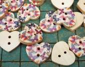 100 count, small wood heart buttons, with painted butterfles, sewing, crafts, scrapbooking, maker, bulk button, butterfly