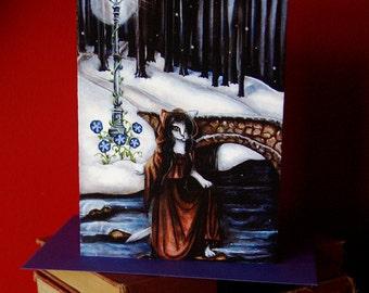 Winter Woods 5x7 Blank Greeting Card, Bridge Over Water Fantasy Art Card
