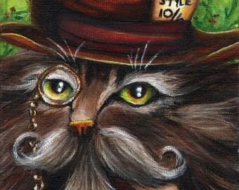 Mad Hatter Cat, Fantasy Art Alice in Wonderland Fantasy Cat Art Print