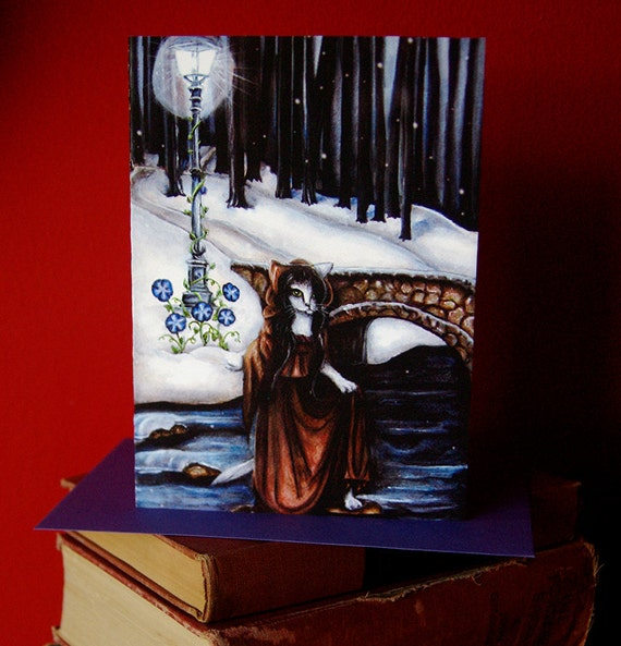Winter Woods 5x7 Blank Greeting Card, Bridge Over Water Fantasy Art Card