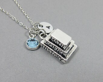 Textbook MATH, SCIENCE, HISTORY Necklace - Personalized Handstamped Initial Name, Customized birthstone