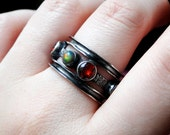 Black Opal Ring, Garnet Ring Size 9, Oxidized Sterling Silver and Ethiopian Opal - Arkenstone by CircesHouse on Etsy