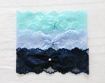 Wedding lace garter, blue garter, garter belt, wedding garter set - style #521