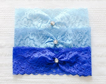 Blue lace wedding garter, something blue garter, bridal garter belt - style #474