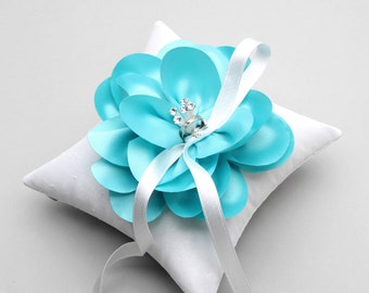 Aqua blue ring pillow, mint blue ring pillow, flower ring bearer pillow  - Sellena