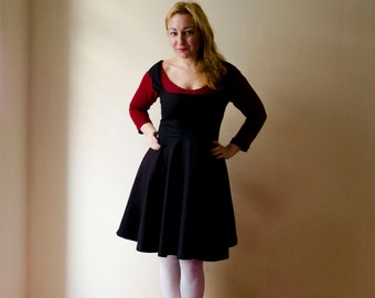 Black Dirndl Dress, Cotton Jumper Dress with Full skirt and Sexy Bustier Knee Length Made to Measure Bespoke Retro Dress