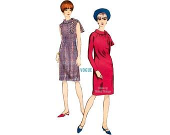 1960s Easy Dress Pattern Vogue 6611 One Piece Dress, Roll Collar Long Raglan Sleeve or Sleeveless Dress Vintage Sewing Pattern