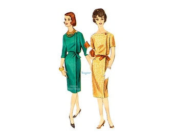 1960s Boat Neck Dress Pattern, Vintage Vogue 5149, Womens Dress with Bateau Neckline, Slim Skirt, Tie Belt, Bust 34
